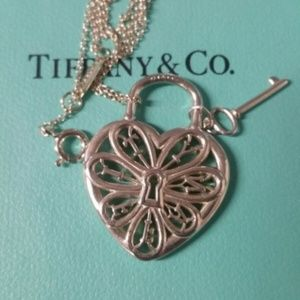Tiffany & Co. Filigree Heart & Key Charm Necklace